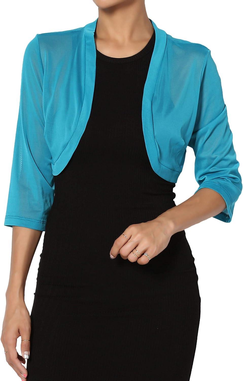 TheMogan Sheer Mesh 3/4 Sleeve Bolero See Through Dress Layering Shrug Cover Up