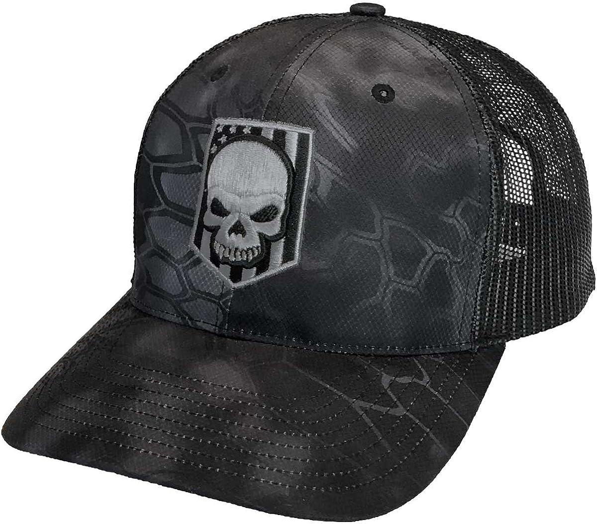 Kryptek Embroidered Skull Flag Typhoon Trucker Hat