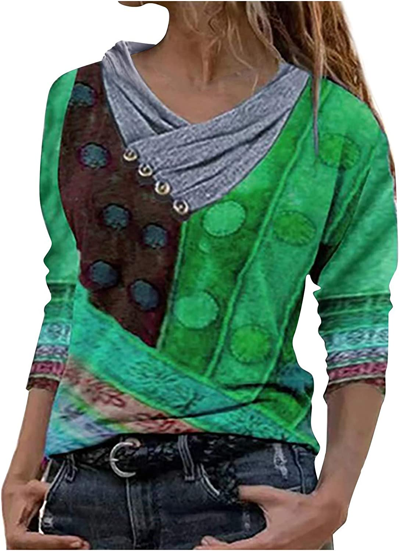 Zainafacai Women Fashion Geometric Print Shirts Long Sleeve Buttons V Neck T-Shirts Casual Blouse T-Shirt Pullover Hoodies