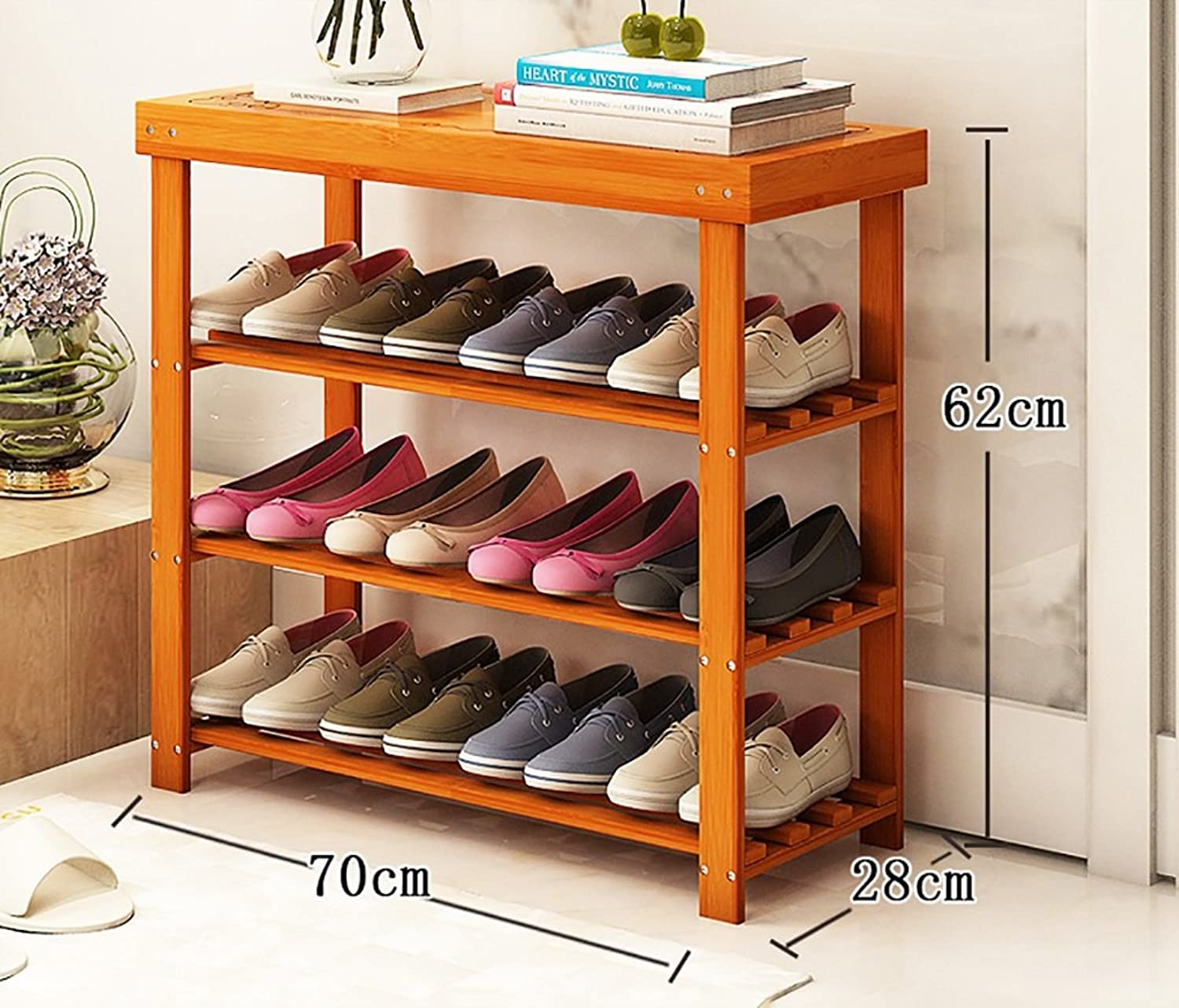 shoes Bench Organizing Rack Natural Bamboo shoes Rack Three-Layer Unit Shelf Simple Storage shoes Stool (Size   70  28  62cm)