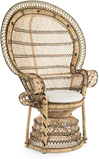 KOUBOO 1110024 Grand Pecock Retro Peacock Chair in Rattan with Seat Cushion, Natural Color, Large