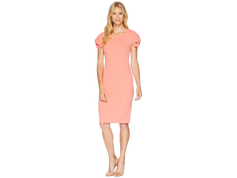 Calvin Klein Tulip Sleeve Sheath Dress CD8C12PT (Porcelain Rose) Women