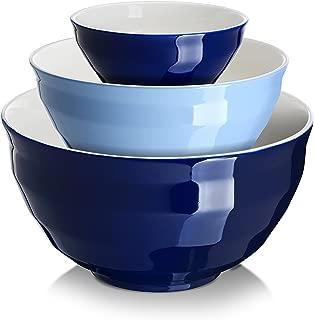 DOWAN Ceramic Mixing Bowls, Serving Bowl Set, Non Slip and Beautiful Outer Design, 0.5 Quart 2 Quart 4.25 Quart, Cooking Supplies, Blue