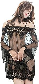 GXN SHOP Ropa erótica para mujer, pijama europeo y americano, conjunto de 3 piezas de lencería sexy de encaje transparente, camisón de malla uniforme tentación de pestañas (color: negro, talla: XXL)