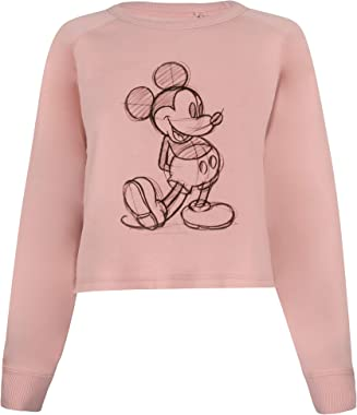 Disney Mickey Sketch Cropped Crew Pull-Over Femme