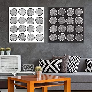 wall26 2 Panel Square Canvas Wall Art - Trees Growth Ring Patterns - Giclee Print Gallery Wrap Modern Home Decor Ready to Hang - 16