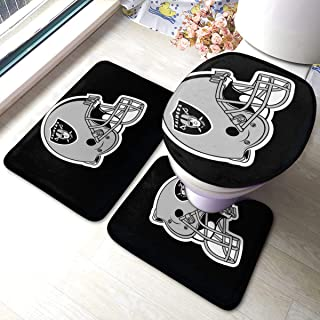 Oa-kland Raiders 3pc Solid Non Slip Soft Bath Rug Set for Bathroom U-Shaped Contour Rug, Mat and Toilet Lid Cover
