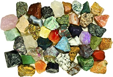 Fantasia Materials: 3 lbs (Best Value) of Exclusive Premium Asia Stone Mix - Raw Natural Crystals & Rocks for Cabbing, Cuttin