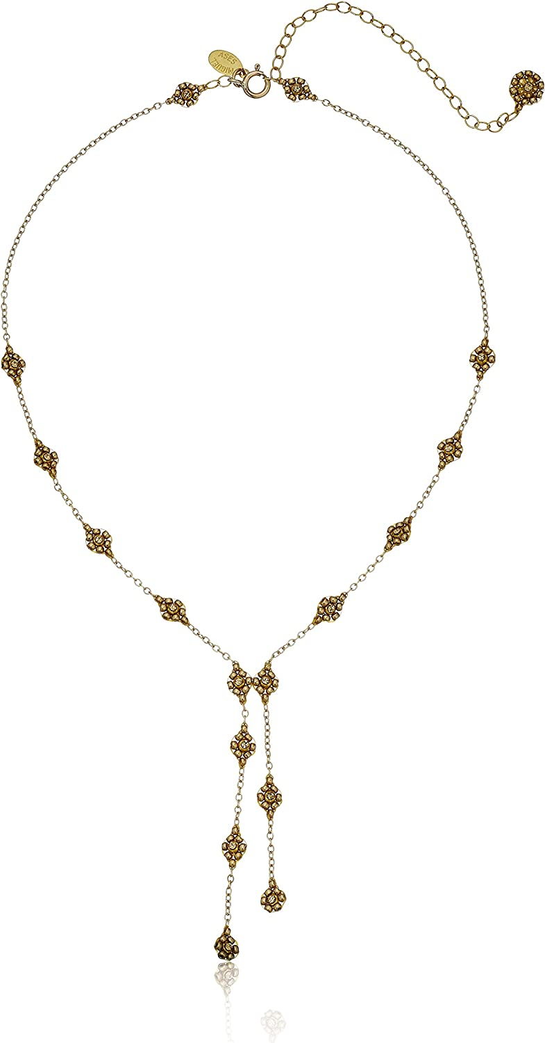 Miguel Ases Gold Dainty Swarovski Uneven Split Y-Shaped Necklace, 16