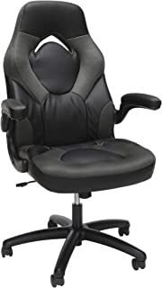 OFM Essentials Collection Racing Style Bonded Leather Gaming Chair, in Gray (ESS-3085-GRY)