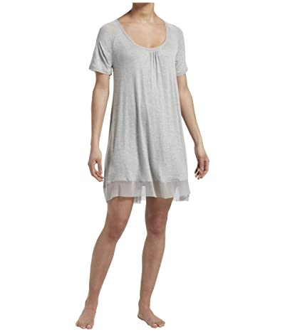 HUE Plus Size Solid Short Sleeve Sleep Gown with Temp Tech (Light Heather Grey) Women