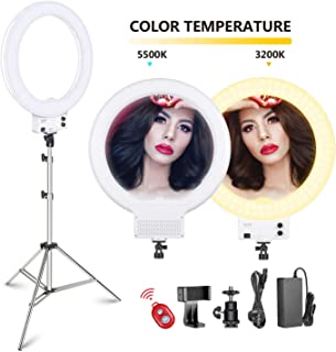Neewer 18-inch White LED Ring Light with Silver Light Stand Lighting Kit Dimmable 50W 3200-5600K with Soft Filter, Hot Shoe Adapter, Cellphone Holder for Make-up Video Shooting