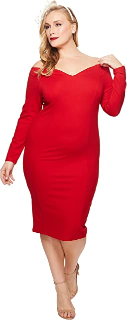 Unique Vintage Plus Size Long Sleeved Cape Cod Wiggle Dress
