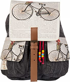 The House of Tara - Multicolour Vintage 100% Cotton Canvas Backpacks for Office and College Accented with Leather for Women