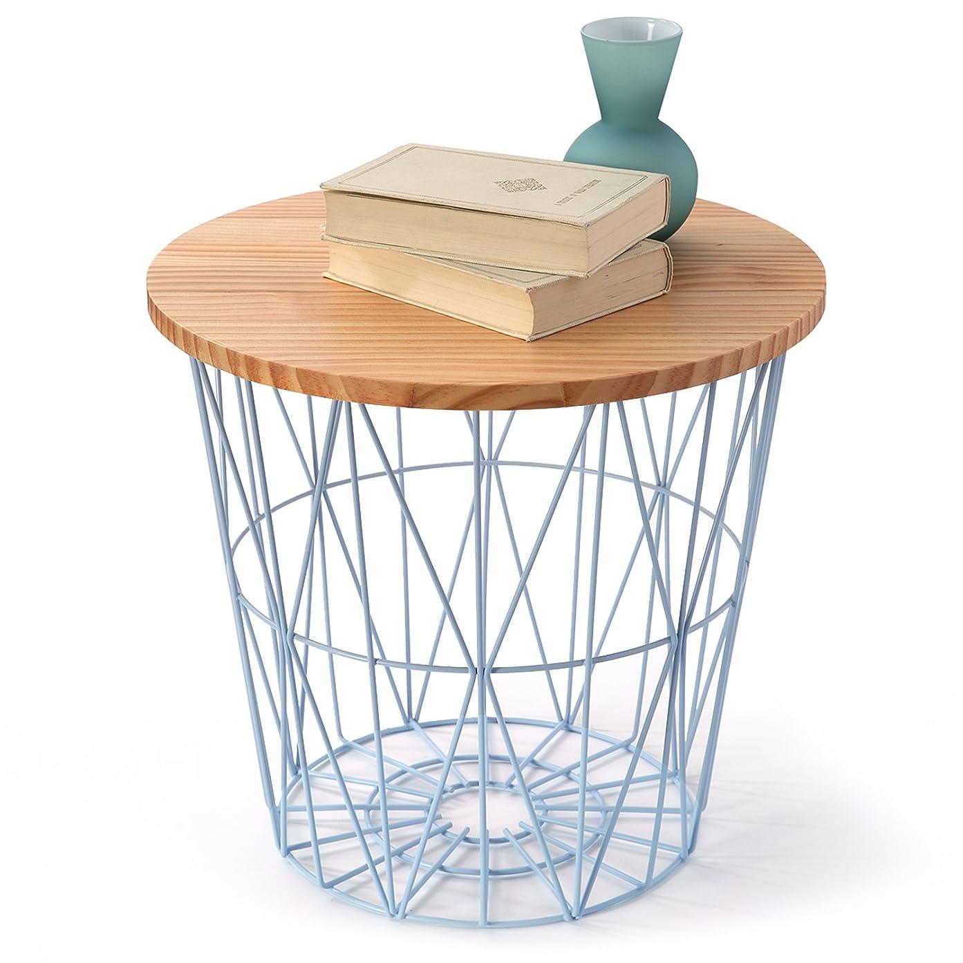 熟達した特別に結婚式LOWYA (ロウヤ) ワイヤーバスケット バスケット サイドテーブルとしても利用可能 天然木天板 おもちゃ収納 スチール素材 おしゃれ 高さ39cmタイプ ナチュラル/ブルー 新生活