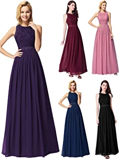 1e53616a46d Ever Pretty Women's Sleeveless Lace High Collar Long Ball Gown A Line  Formal Evening Bridesmaid Dresses