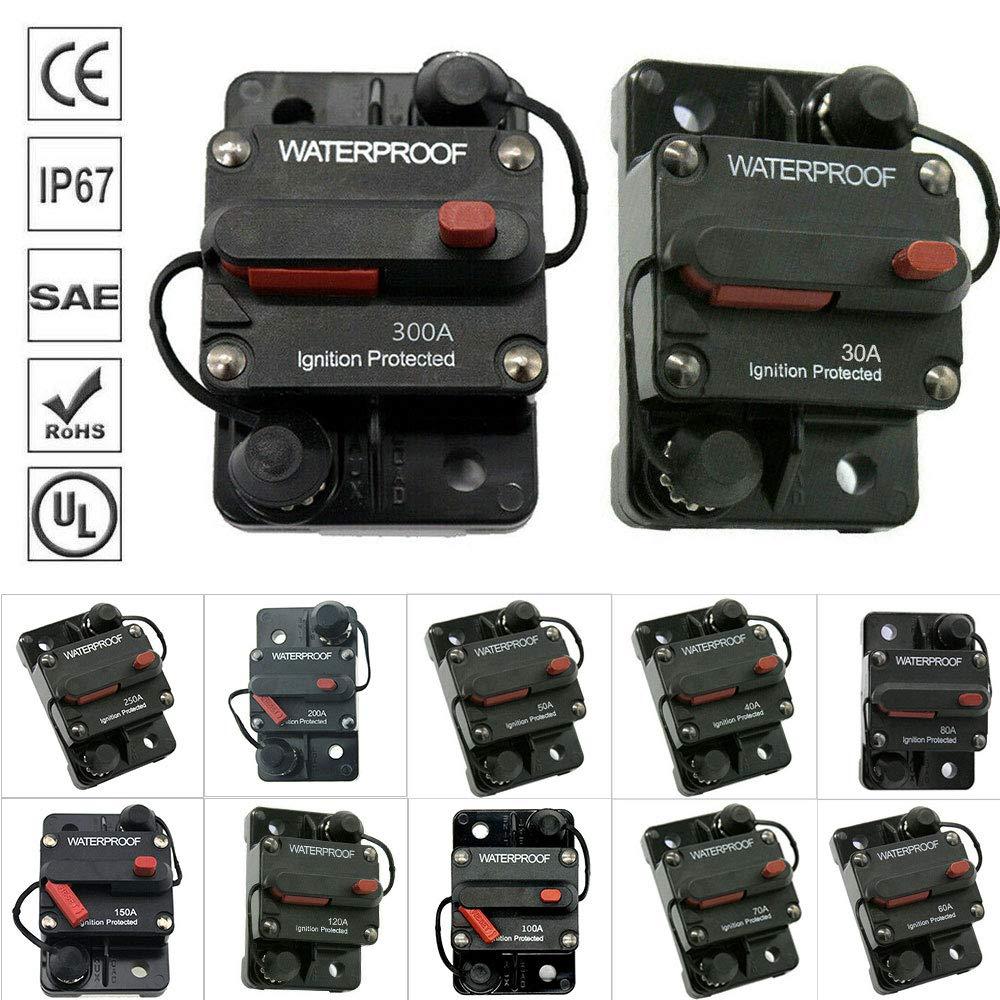 Bestine Interruptor de circuito en línea de audio para coche, portafusibles, bloque de fusibles en línea para sistema de inversor solar de audio de coche, protección 120 A