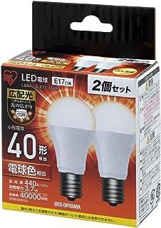 アイリスオーヤマ LED電球 口金直径17mm 40W形相当 電球色 広配光タイプ 2個パック 密閉器具対応 LDA4L-G-E17-4T42P