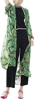 Hibluco Women's Sheer Chiffon Floral Kimono Cardigan Long Blouse Loose Tops Outwear