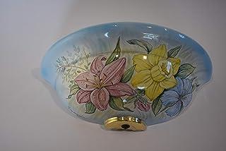Applique in ceramica, da parete floreale, realizzata e dipinta a mano