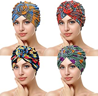 ASHILISIA 4 Pieces African Pattern Knot Headwrap, Pre-Tied Bonnet Turban Beanie Cap for Women