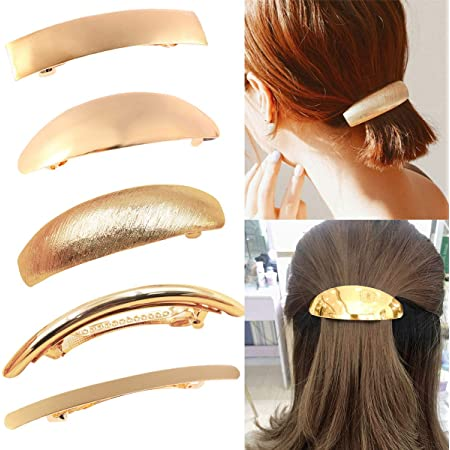 Amazon Com Ded Pack Of 5 Women Hair Clips Metel Hair Pins Simple Retro Large Hair Barrettes French Clip Barrettes For Women Lady Gold Beauty