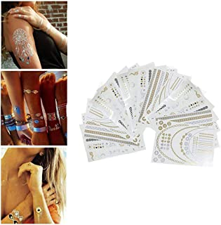 Matoen Lady Tattoo Waterproof Metallic Temporary Tattoo Gold Silver Shimmer Sticker Body Henna Nail Art Fake Jewelry Over 200 Designs 16sheets (Multicolor)