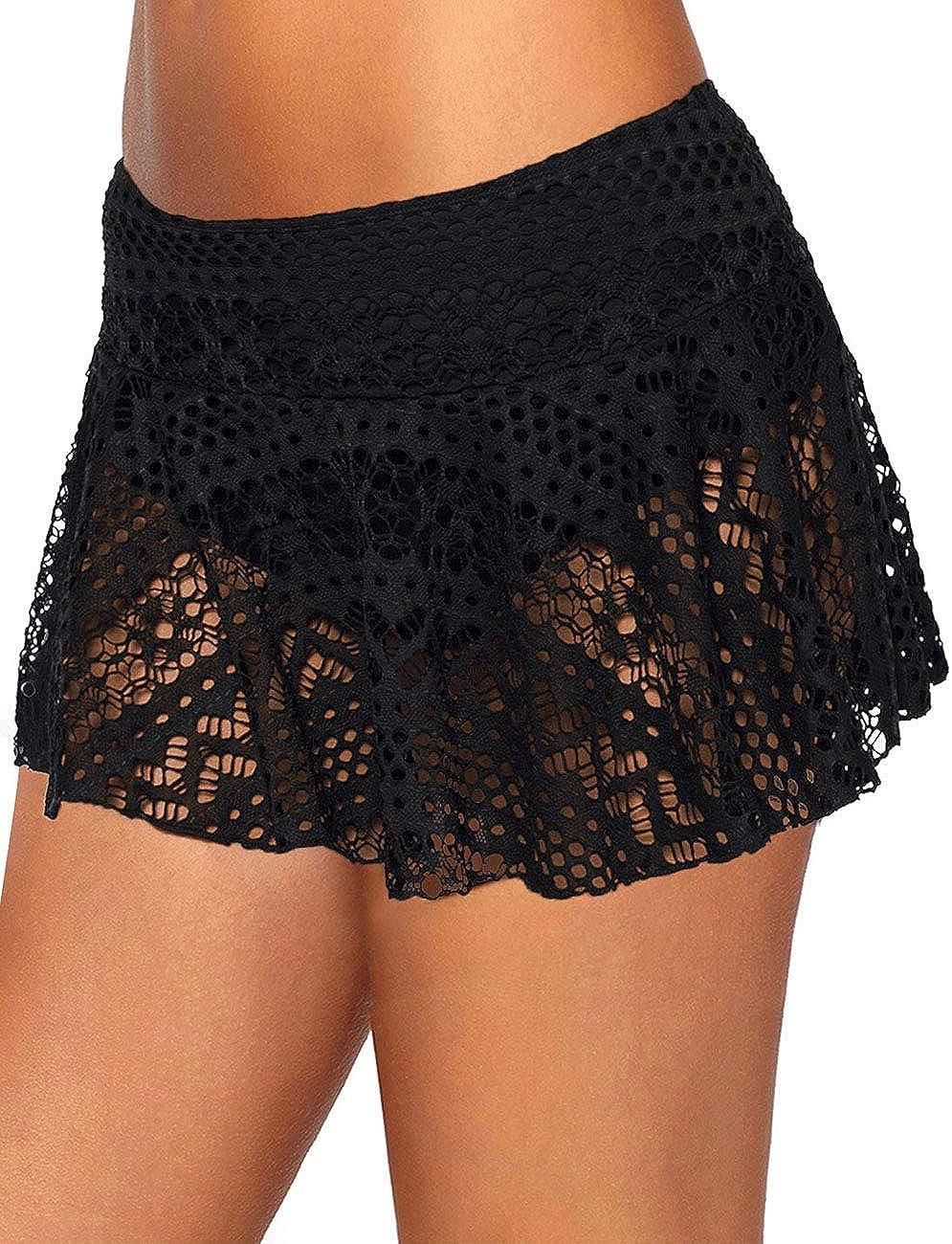 XAKALAKA Women Crochet Lace Bikini Bottom Swim Skirt Solid Swimsuit Short S-XXL