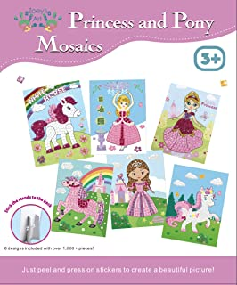 Mosaic Art and Craft Kit : for Kids, Fun Pony and Princess Sticker Art, Children Craft Activities Ages 3-8