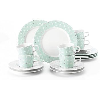 Taza Serie Marieluise Marfil platillo de caf/é Servicio Incluye Cada 6 Plato de Desayuno Set para 6 Personas Seltmann Weiden Weihnachten 18 Piezas 43 x 24 x 18cm Verde