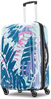 American Tourister Moonlight Expandable Hardside Checked Luggage with Spinner Wheels, 24 Inch, Palm Trees (Multi) - 92505