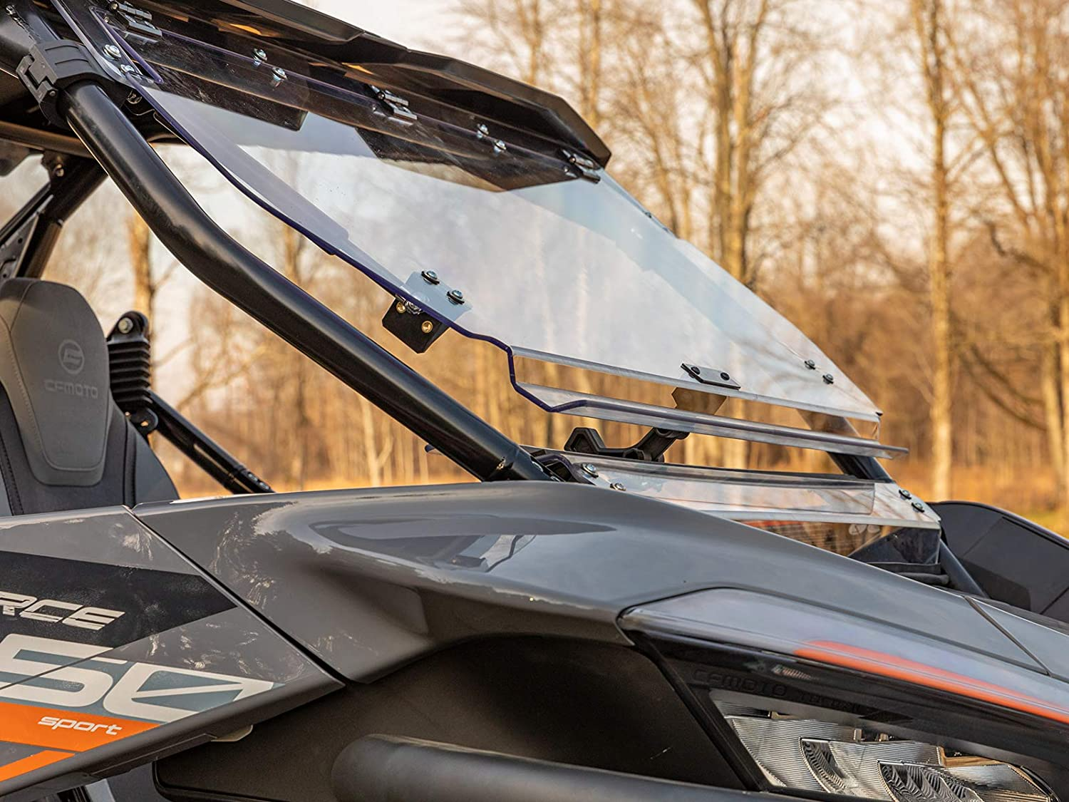"""SuperATV Heavy-Duty Scratch Resistant 3-in-1 Flip Windshield for 2020+ CF Moto ZForce 950 (Built Before 11/23/2020) 