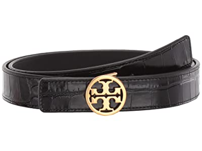 Tory Burch 1 Embossed Croc Logo Belt (Black/Gold) Women