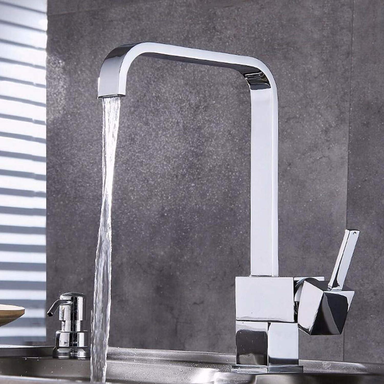 Electroplating Faucet Kitchen Swivel Faucet Tetragonal Sink Cold Hot Faucet Bathroom Basin Faucet,C