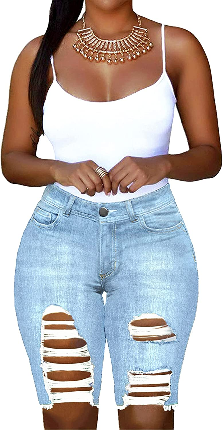 onlypuff Women's Ripped Denim Destroyed Mid Rise Stretchy Bermuda Shorts Jeans