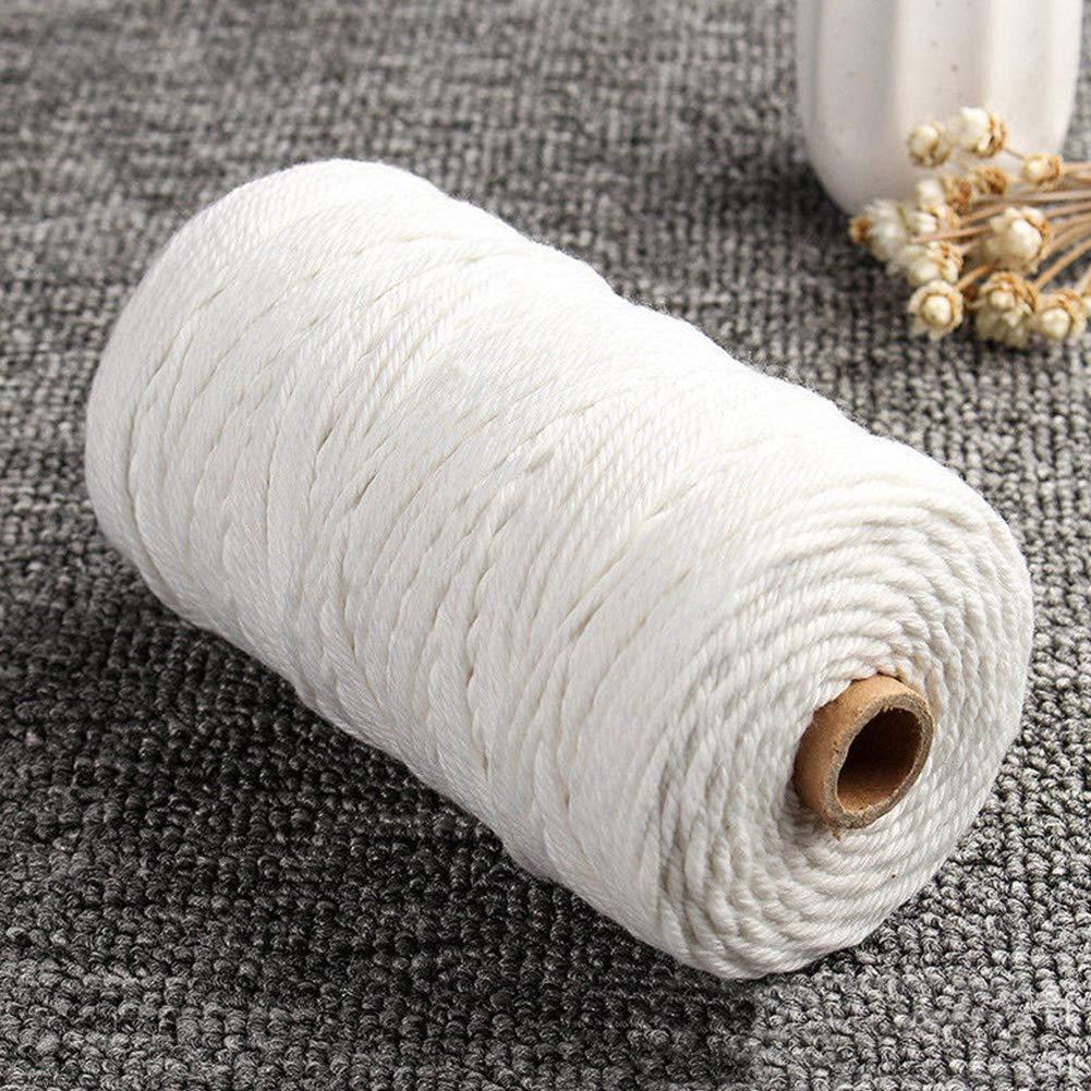 1x400m macram/é Cord/ón de macram/é de 3 mm x 200 m cuerda de macram/é trenzada de algod/ón para colgar en la pared hilo de algod/ón natural beige para hacer atrapasue/ños