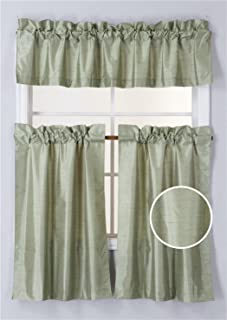 Elegant Home Collection 3 Piece Solid Color Faux Silk Blackout Kitchen Window Curtain Set with Tiers and Valance Solid Color Lined Thermal Blackout Drape Window Treatment #K3 (Sage Green)