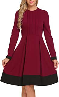 Women's Long Sleeve A Line Swing Fit and Flare Casual Dress