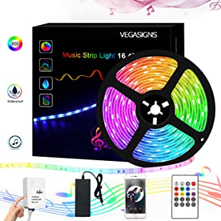 Music LED Strip Lights 16.4Ft,VEGASIGNS Light Strip with Remote Color Changing Light Waterproof with SMD 5050 RGBW RF Remote Controller, Music Sync LED Light for Bedroom, TV, Bar
