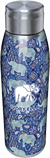 Tervis Ivory Ella - Paisley Elephant Insulated 18/8 Stainless Steel Slim Bottle with Silver Lid, 17 oz