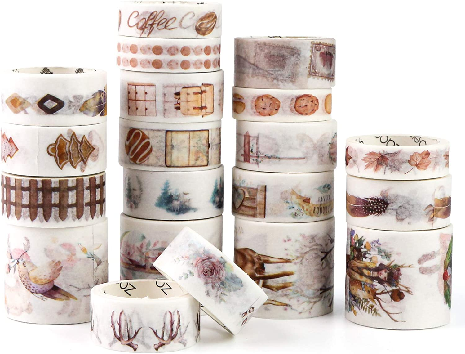 20 Rolls Decorative Tapes Scrapbook Tapes for DIY Crafts Gift Wrapping Festivals Party Decoration SallyFashion Washi Tape