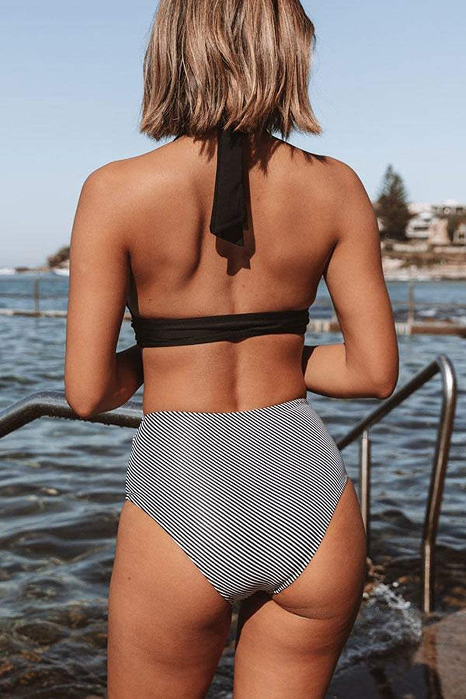 Beachsissi Women Bikini High Waist Stripe Print Halter Black 2 Piece Bathing Suit