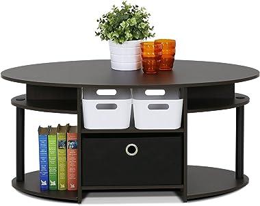 FURINNO Coffee Table With Bin, Walnut,15079WNBK