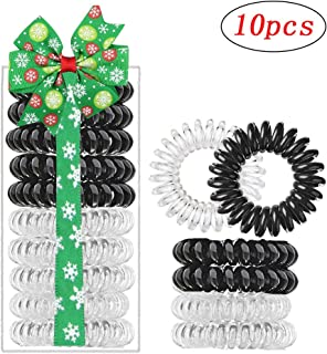 boogift Hair Ties, Crystal Clear, 10 pcs - Traceless, Strong Hold, Waterproof - Suitable for All Hair Types Kids Girls Woman Accessory all Types of Hair. Exercise, Workouts & Everyday. (white&black)