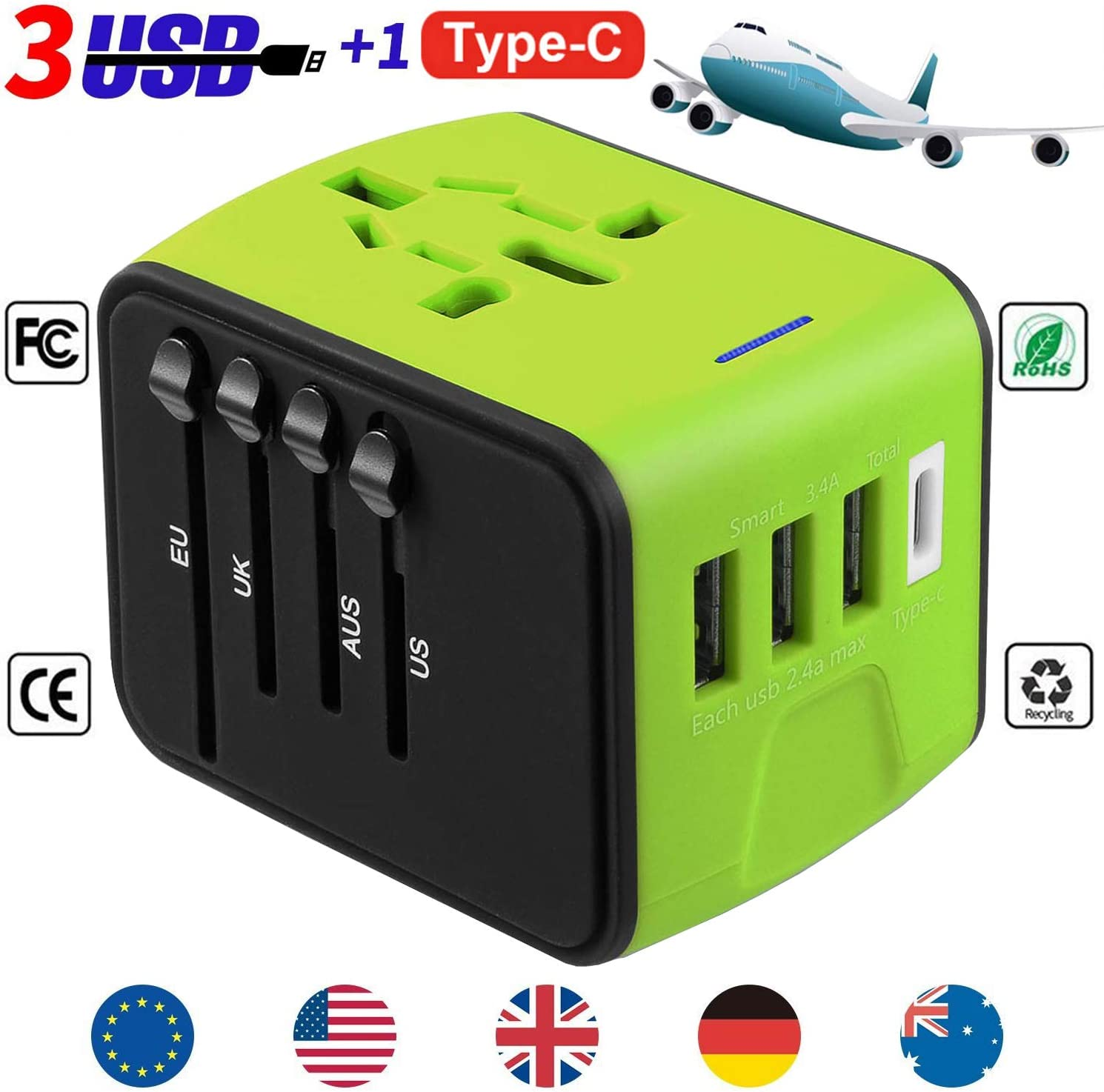 YooGoal Universal Travel Adapter Quick USB Charger with 1 Type C and 3 USB Ports International World Power Plug Adapter Kit Charger USB Plug with UK, EU, AU, CN,US for 200 Countries (Green)