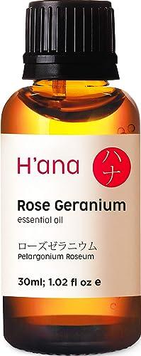 Hana Rose Geranium Essential Oil 100% Pure Natural Aromatherapy Therapeutic Grade for Humidifier, Diffuser, Relaxatio...