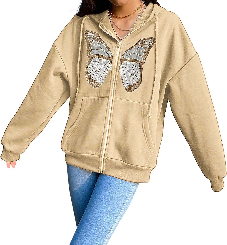 MISSACTIVER Women's Y2K Oversized Butterfly Graphic Rhinestone Full Zip Hoodies Drawstring Jackets Sweatshir