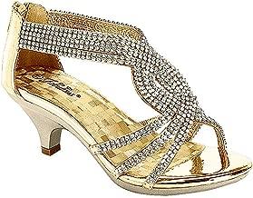 J.J.F Shoes Fabulous Angel-37K Kids Little Girls Bling Rhinestone Platform Dress Heels Sandals