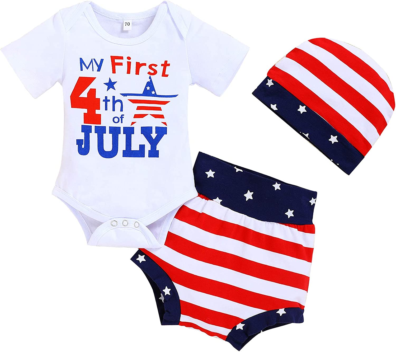 Viworld Infant Baby Girls My First 4th of July Outfit Ruffle Romper+Star Striped Shorts+Headband Independence Day Clothes