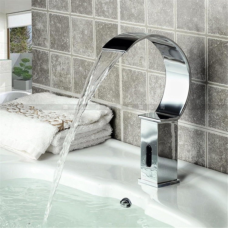 AQMMi Bathroom Sink Faucet Basin Mixer Tap Modern Silver Sensor 1 Hole Single Lever Basin Sink Tap Bathroom Bar Faucet